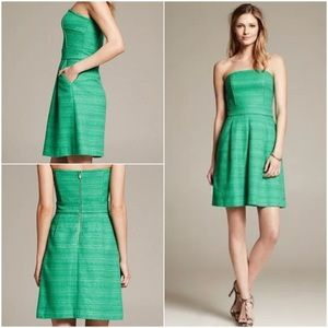 Banana Republic Green Tweed Strapless Dress